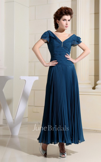 Sleeveless Central-Ruched Chiffon Ankle-Length Dress with Beading and Low-V Back