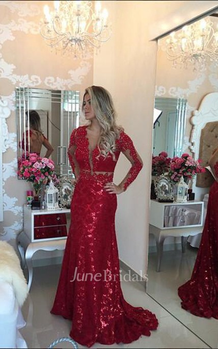 b8e06df0157 Glamorous Red Mermaid Sequins Prom Dress 2018 Lace Appliques Backless -  June Bridals