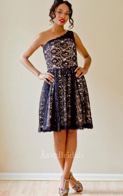 Custom Short Black Lace Over Bright Champagne One Shoulder Bridesmaid Prom Homecoming Dress