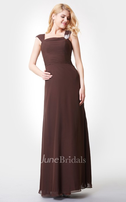 Crystal Detailed A-line Long Chiffon Dress With Straps