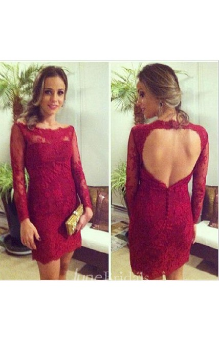 Mini Sheath Lace Dress with Keyhole Back