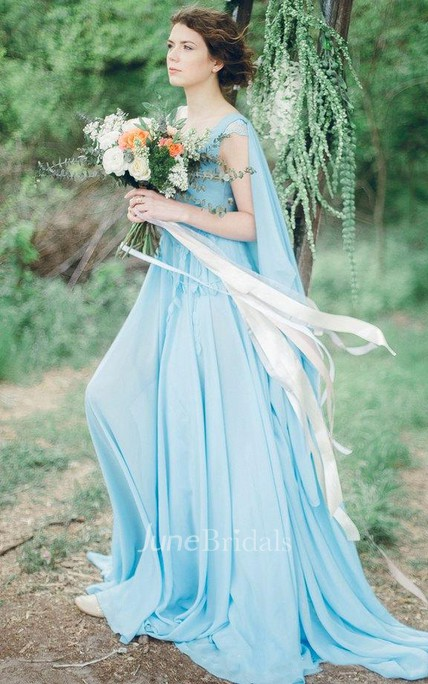 Serenity Bohemian Sky Blue Chiffon Wedding Or Prom Non