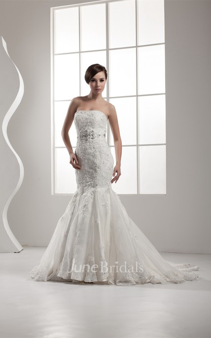 Strapless Lace Trumpet A-Line Dress with Beading and Pleats