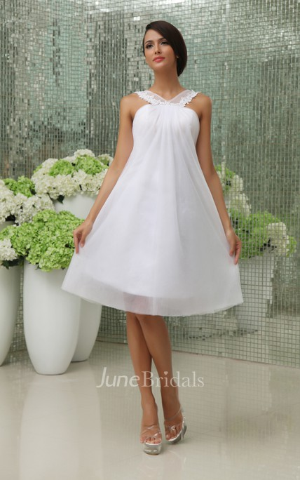 2574ce58856 Lovely A-Line Short Dress With Straps And Tulle Overlay - June Bridals