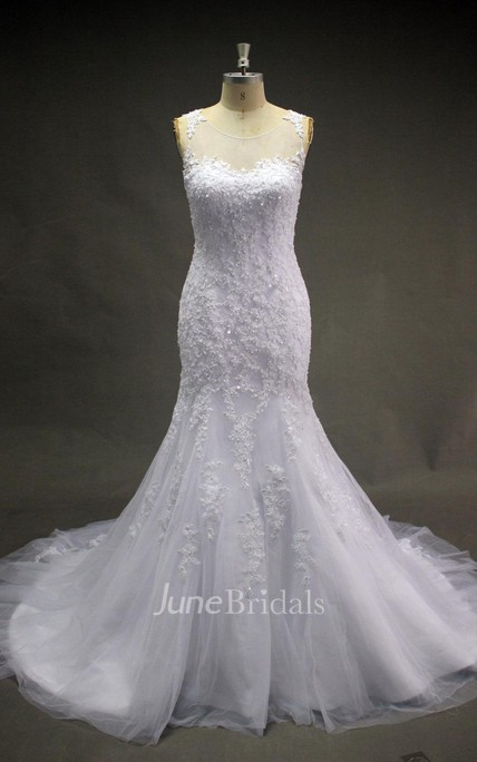 Scoop Neck Sleeveless Lace Mermaid Wedding Dress With Court Train