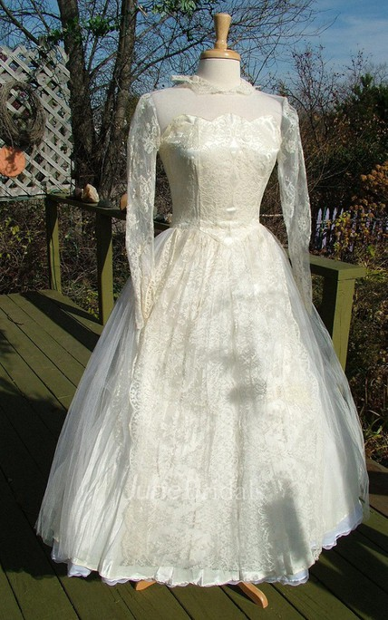 Vintage Chantilly Lace Tulle 1950S Tea Length Ballerina Length Dress ...