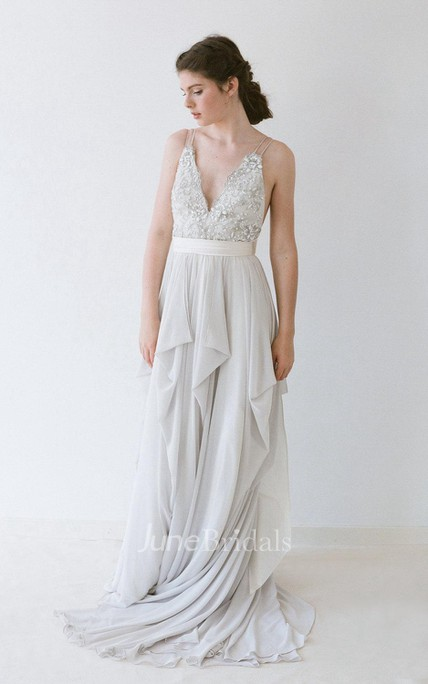 Romantic Double Strap Long A-Line Chiffon Wedding Dress With Beading