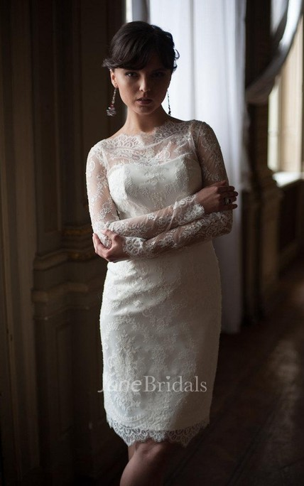 Short Sheath Lace Wedding Dress With High Neck Fitted Style