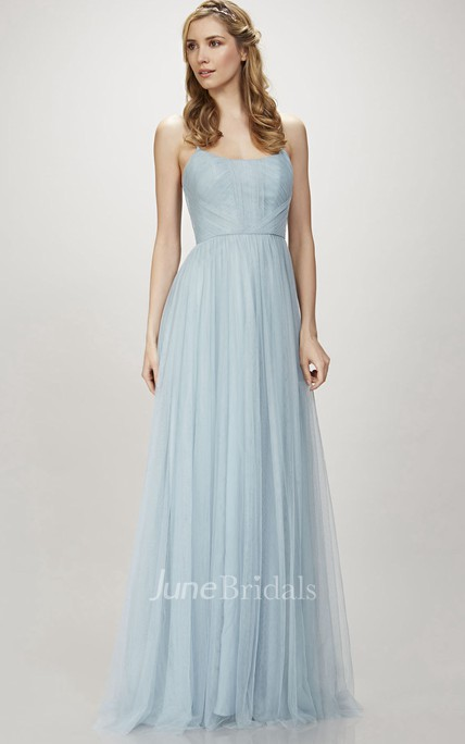 Spaghetti Ruched Sleeveless Tulle Bridesmaid Dress