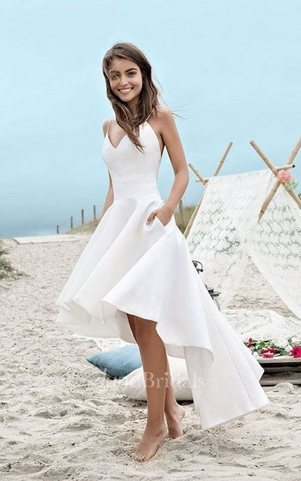 Simple High-low Spaghetti Straps Beach Wedding Dress With Ruching
