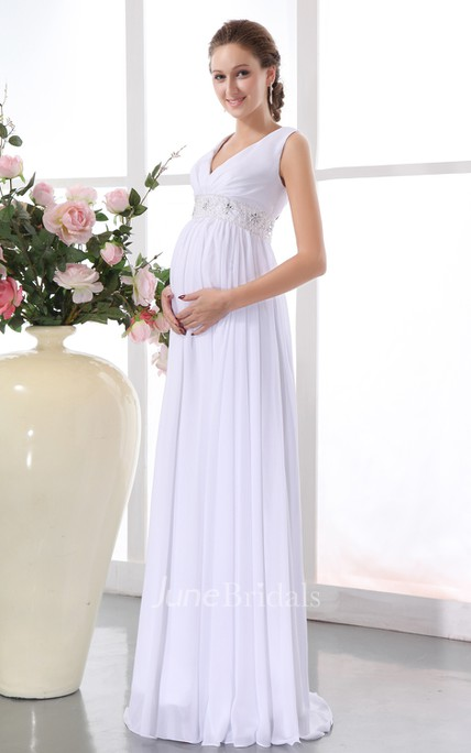 Maternity Chiffon Gown Withwaistbanded Waistband And Draping