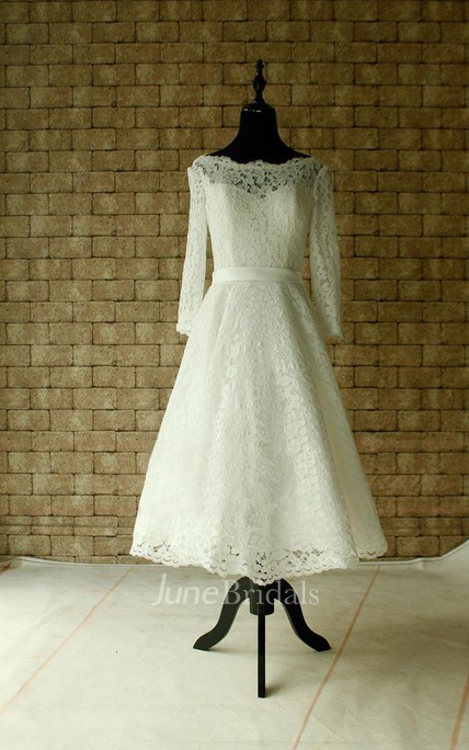 Lace Wedding Sheer Neckline With Sleeves Tea Length Garden