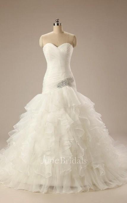 Sweetheart Lace Up Back Mermaid Chiffon Wedding Dress With Ruffles
