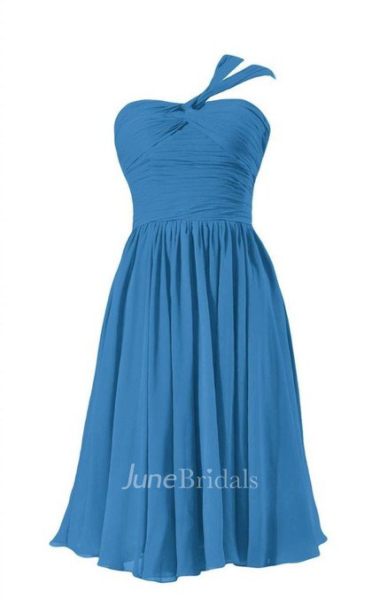 One-shoulder Ruched Bodice Knee-length Pleated Chiffon Dress