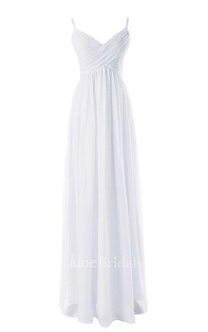 Sleeveless V-neck Asymmetrical Ruched Bodice Long Chiffon Dress