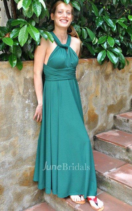 Infinity Emerald Green Convertible Versatile Satin Jersey Long Dress