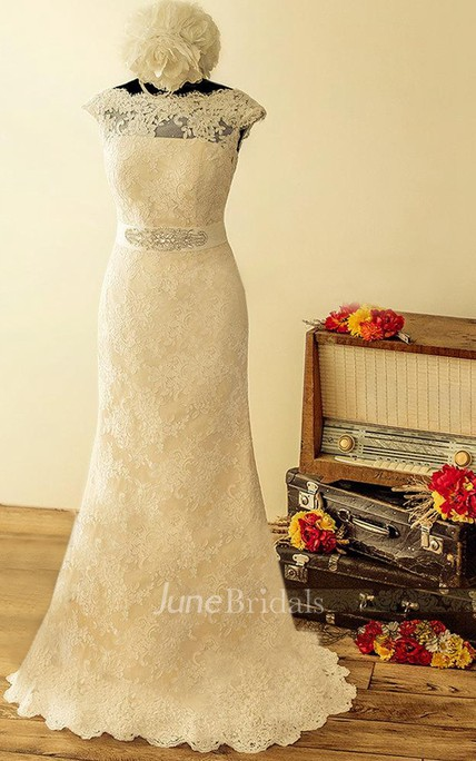 A Line Cap Sleeve Lace Satin Dress With Beading Sequins