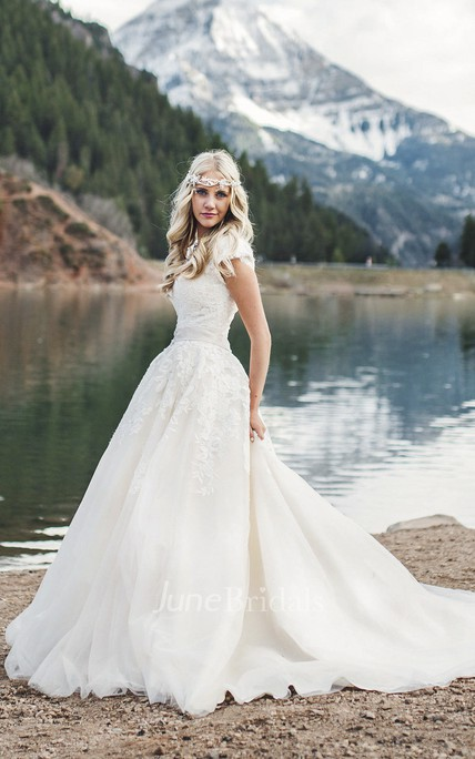 Cap Sleeve Romantic Queen Anne Ballgown Wedding Dress With Lace Appliques And Button Back