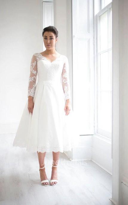 Tea Length Weddig Dress With Keyhole Back June Bridals