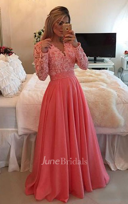 A-line V-neck Long Sleeve Beading Appliques Chiffon Lace Dress