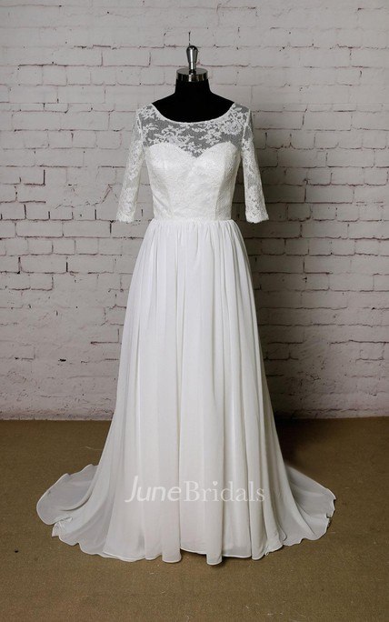 Scoop Neck Half Sleeve A-Line Chiffon Wedding Dress With Lace Bodice