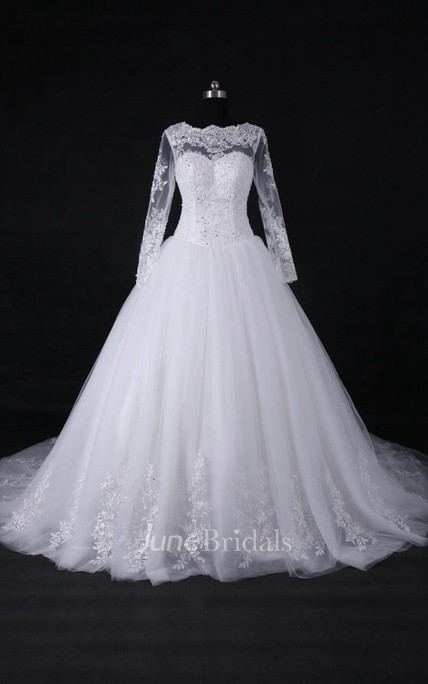 87cf9daf58 A-Line Ball Gown Long Sleeve Cathedral Train Tulle Lace Satin Dress - June  Bridals