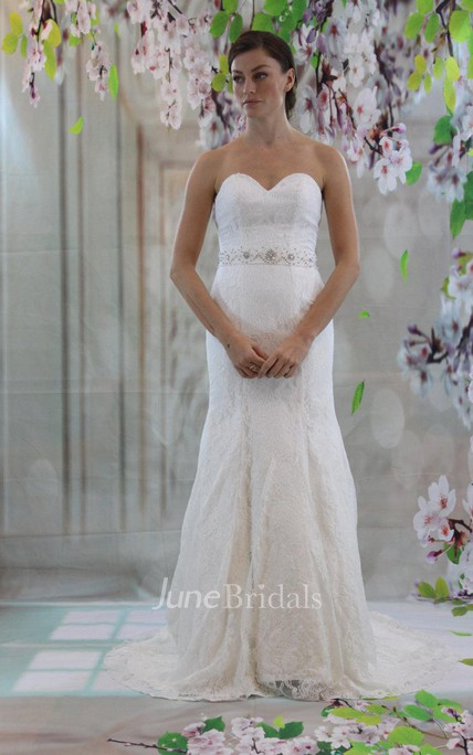 Sweetheart Full Lace Mermaid Wedding Dress With Beading