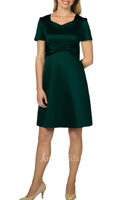 Knee-length Satin Dress With Zipper