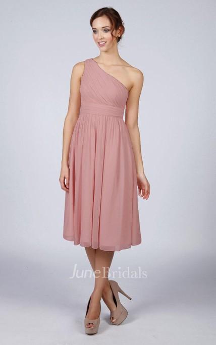 5a344d6537 Dusky Pink One Shoulder Short Bridesmaid Prom Dress - June Bridals