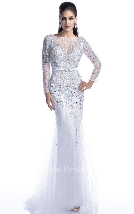 Long Sleeve Trumpet Tulle Prom Dress With Keyhole Back And Bling Rhinestones