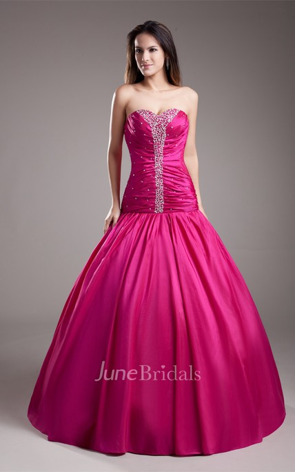 sweetheart a-line gown with ruched bodice and strass