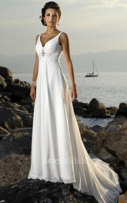 0bd9bc2399282 Empire V-neck Court Trains Sleeveless Chiffon Beach Wedding Dresses for  Brides - June Bridals