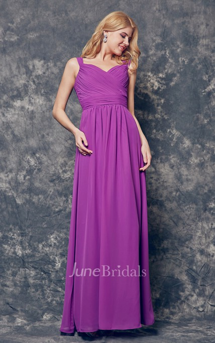 Ruched A-line Chiffon Dress With Spaghetti Straps