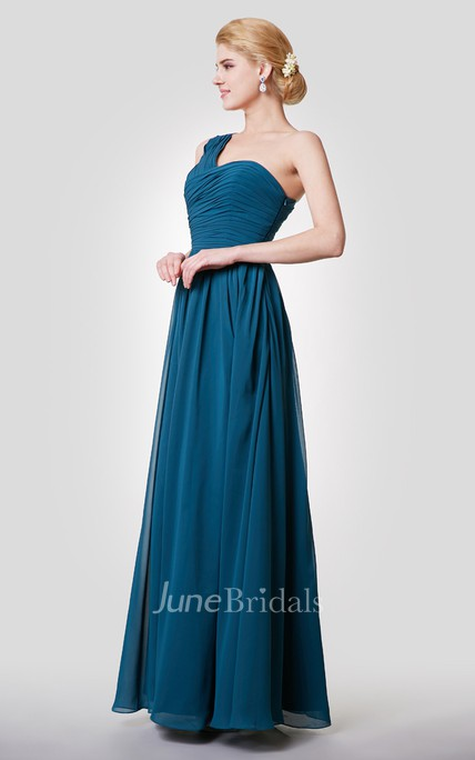 Modern One-shoulder Empire A-line Chiffon Gown With Pleats