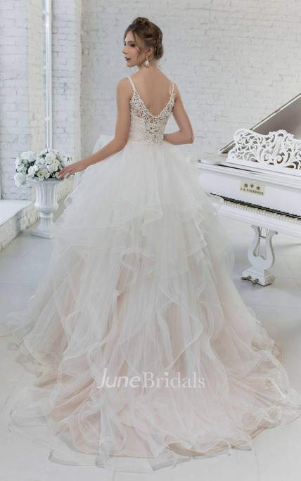 Tulle Ball Gown Ruffled Spaghetti Strap Wedding Dress With