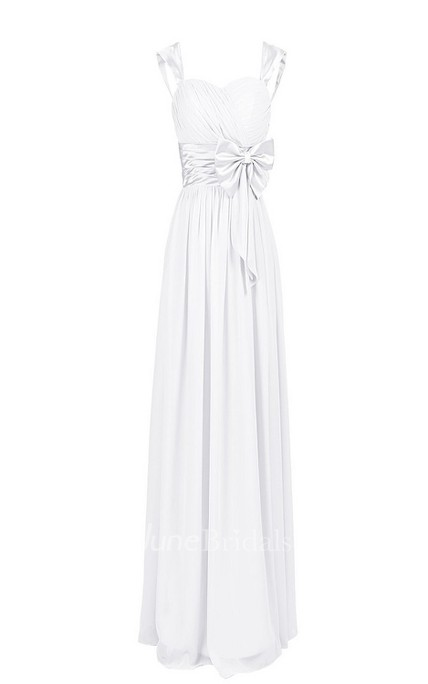 Sleeveless Bodice Long Pleated Chiffon Dress With Bowknot