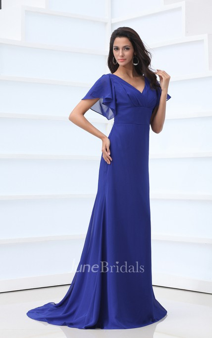 Maxi Ethereal Chiffon Pleated V-Neck Dress With Bell-Sleeve