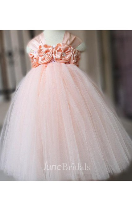 Cap Sleeve Flower Bust Pleated Tulle Tutu Dress With Beading