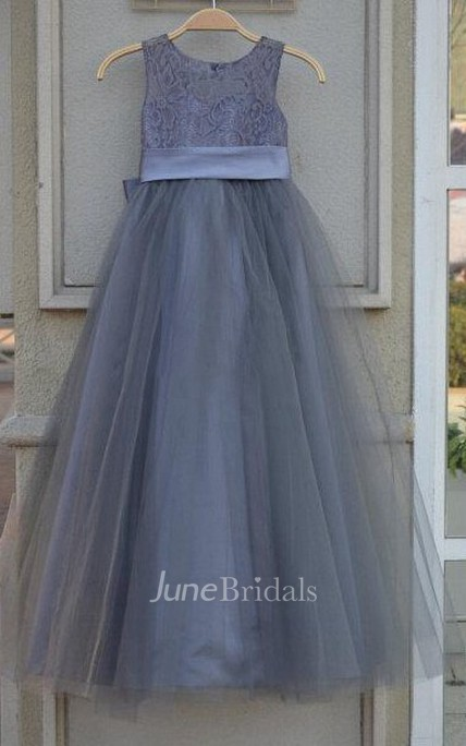 Lace Bodice Tulle Dress With Satin Bow Belt