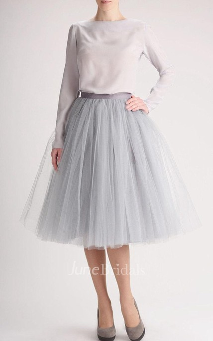 Grey Tulle Tutu Skirt Tea Length Dress June Bridals