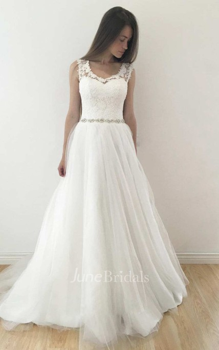ac3885884f2 V-Neck Sleeveless A-Line Tulle Pleated Wedding Dress With Keyhole And Beaded  Waist - June Bridals