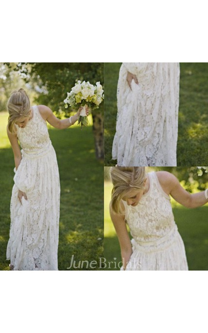 Fairy sleeveless jewel neck pleated a line long lace dress for Simple cream colored wedding dresses