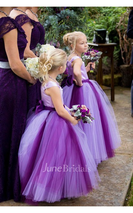 Lovely Tulle Princess Bowknot Flower Girl Dress 2018 Cap Sleeve