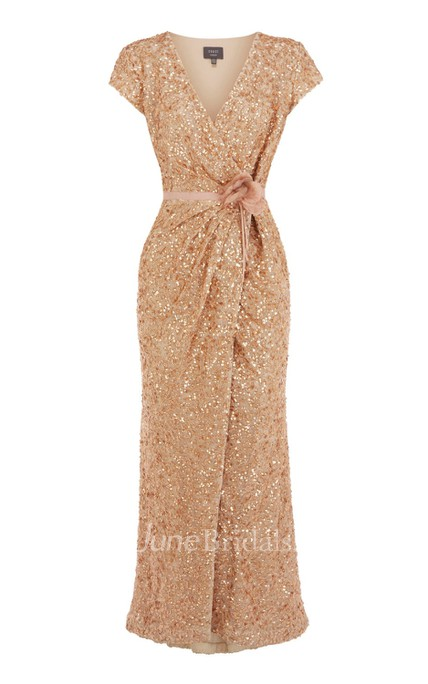 24a2d1390c6 V-Neck Overall Sequined Dress With Front-Split Design - June Bridals