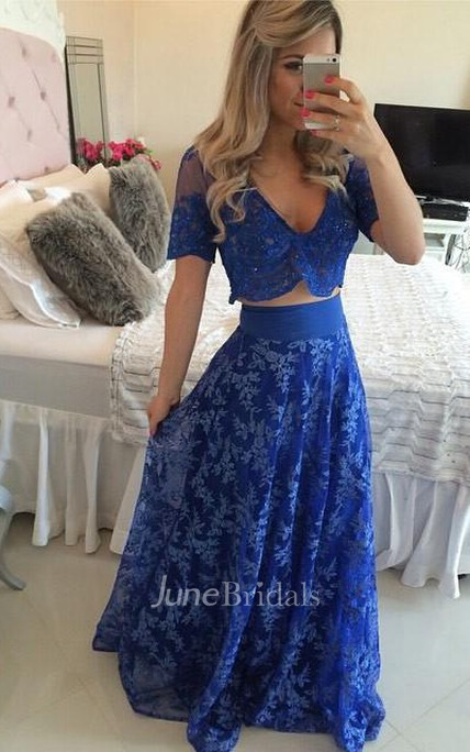 0bead14bcde Sexy Two Piece Royal Blue Prom Dress 2018 Appliques Short Sleeve - June  Bridals