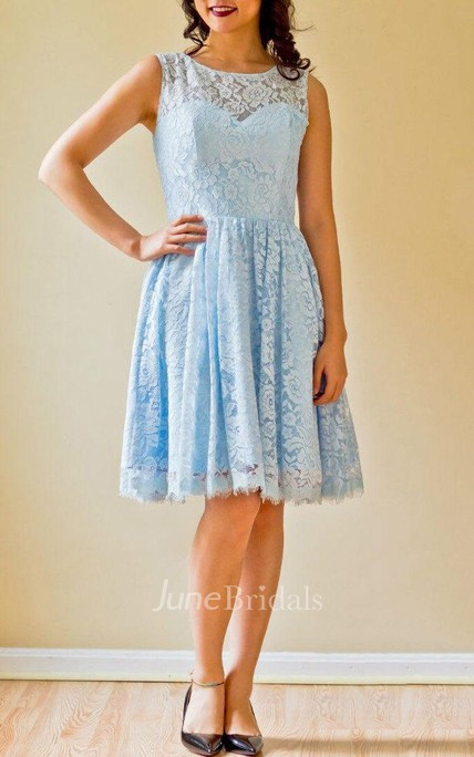 A-line Short Sleeveless Sleeve Chiffon&Lace Dress