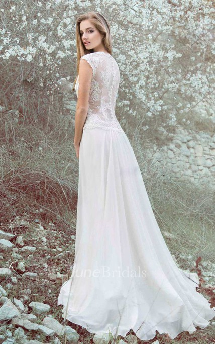 Chiffon Satin Floral Lace Wedding Dress