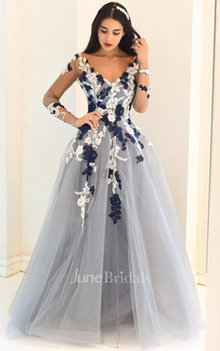 Princess V Neck Long Sleeves Applique Tulle Sweep Brush Train Dress Online