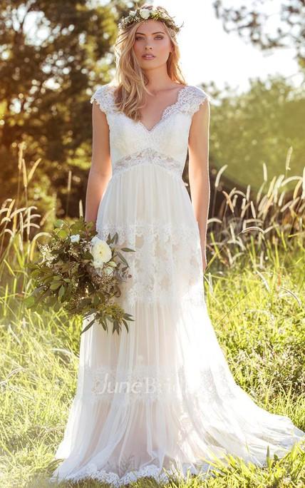 1513ff046619 V-Neck Long Cap-Sleeve Appliqued Lace&Tulle Wedding Dress - June Bridals