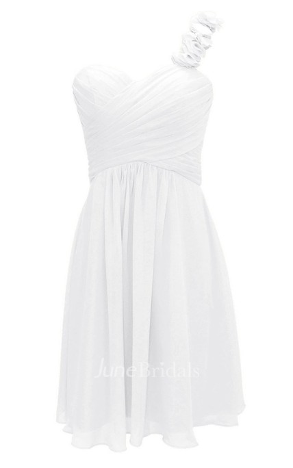 One Appliqued Strap Short Layered Chiffon Dress